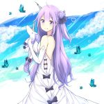 1girl ahoge animal azur_lane bare_shoulders black_bow black_ribbon blue_sky blush bow breasts bug butterfly closed_mouth clouds cloudy_sky commentary day dress elbow_gloves gloves hair_bun hair_ribbon heart insect long_hair one_side_up purple_hair ribbon rocm_(nkkf3785) side_bun sky sleeveless sleeveless_dress small_breasts smile solo stuffed_alicorn stuffed_animal stuffed_toy twitter_username unicorn_(azur_lane) very_long_hair violet_eyes white_dress white_gloves