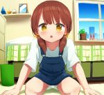 1girl arm_support bed bedroom brown_eyes brown_hair dress hoshizora_ayase indoors kneeling leaning_forward long_hair looking_at_viewer low_twintails open_mouth original pillow plant potted_plant shelf shirt short_dress socks solo twintails white_footwear white_shirt window