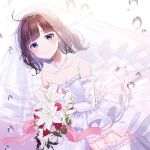 1girl album_cover bangs bare_shoulders bouquet breasts bridal_veil brown_hair closed_mouth commentary_request cover detached_sleeves dress eyebrows_visible_through_hair flower frilled_legwear grey_eyes holding holding_bouquet jewelry long_sleeves myusha necklace nijisanji pearl_necklace red_flower red_rose rose see-through small_breasts smile solo strapless strapless_dress suzuka_utako thigh-highs tiara veil virtual_youtuber water_drop wedding_dress white_dress white_flower white_legwear white_rose white_sleeves