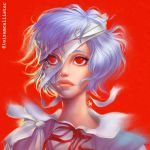 2minds ayanami_rei bandages blue_hair highres neon_genesis_evangelion pouty_lips red_eyes ribbon school_uniform short_hair