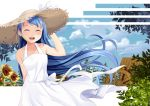 1girl :d ^_^ arm_behind_back bangs bare_arms bare_shoulders blonde_hair blue_hair blue_sky closed_eyes clouds cloudy_sky collarbone commentary day dress facing_viewer flower hand_on_headwear hat hat_ribbon kantai_collection leaf long_hair multicolored_hair open_mouth outdoors plant ribbon samidare_(kantai_collection) sidelocks sky sleeveless sleeveless_dress smile solo straw_hat streaked_hair sun_hat sundress sunflower swept_bangs two-tone_hair upper_teeth very_long_hair watermill white_dress white_ribbon yasume_yukito