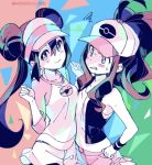 2girls :3 ahoge asymmetrical_docking baseball_cap blue_eyes blurry blush_stickers breast_envy breast_press breasts clenched_teeth cowboy_shot depth_of_field double_bun hair_between_eyes hat long_hair looking_at_another looking_at_viewer medium_breasts mei_(pokemon) miniskirt multiple_girls patterned_background poke_ball pokemon pokemon_(game) pokemon_bw pokemon_bw2 ponytail shirt short_shorts short_sleeves shorts shorts_under_skirt shuri_(84k) sidelocks skirt sleeveless small_breasts squiggle sweatdrop t-shirt teeth touko_(pokemon) twintails twitter_username vest wristband