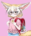 1girl akegata_tobari animal_ear_fluff animal_ears backpack badge bag bespectacled black-framed_eyewear blonde_hair brown_bear_(kemono_friends) brown_eyes button_badge child commentary_request cowboy_shot extra_ears fennec_(kemono_friends) fox_ears fox_tail frills glasses highres holding_strap kemono_friends large_ears looking_at_viewer medium_hair multicolored_hair pink_background pink_shirt randoseru shirt short_shorts shorts simple_background smile solo tail two-tone_hair white_hair younger