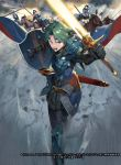 1boy alm_(fire_emblem) armor armored_boots boots cape clouds cloudy_sky faceless faceless_male falchion_(fire_emblem) fire_emblem fire_emblem_cipher fire_emblem_echoes:_mou_hitori_no_eiyuuou fire_emblem_if gloves green_eyes green_hair headband helmet horse horseback_riding kureta_(nikogori) male_focus official_art open_mouth polearm riding shield sky solo spear teeth weapon
