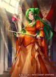 1girl breasts brown_eyes collarbone commentary_request company_connection copyright_name day dress elincia_ridell_crimea fire_emblem fire_emblem:_path_of_radiance fire_emblem:_souen_no_kiseki fire_emblem_cipher green_eyes hair_bun holding indoors intelligent_systems jewelry konfuzikokon light_particles light_rays long_dress long_hair long_sleeves medium_breasts nintendo official_art open_mouth orange_dress puffy_sleeves queen shiny shiny_hair smile staff sword tied_hair weapon wide_sleeves