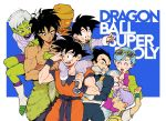3girls 6+boys ;d ^_^ anger_vein annoyed armor baby black_eyes black_hair blue_eyes blush boots bra_(dragon_ball) broly_(dragon_ball_super) brother_and_sister bulma carrying cheelai closed_eyes clothes_around_waist copyright_name dark_skin dark_skinned_male dougi dragon_ball dragon_ball_super_broly expressionless eyewear_on_head facial_scar father_and_son fingernails green_skin grey_hair gutstemple hand_on_another's_head hand_on_another's_shoulder hand_to_forehead hand_up happy hat highres holding holding_baby jacket lemo_(dragon_ball) looking_at_another mother_and_daughter mother_and_son multiple_boys multiple_girls nipples one_eye_closed open_mouth orange_skin outstretched_arm overalls purple_hair purple_legwear scar scar_on_cheek shirt shirtless short_hair shoulder_carry siblings simple_background sleeping smile son_goku son_goten spiky_hair sunglasses sweatdrop teeth trunks_(dragon_ball) twintails two-tone_jacket v-shaped_eyebrows vegeta very_short_hair violet_eyes white_footwear white_shirt wristband