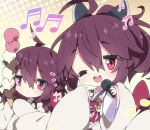 2girls :< ;d ahoge bangs beamed_sixteenth_notes blush brown_hair brown_kimono chibi closed_mouth commentary_request eighth_note eyebrows_visible_through_hair food hair_between_eyes halftone halftone_background headgear high_ponytail highres holding holding_food holding_microphone ice_cream ice_cream_cone japanese_clothes kimono long_sleeves microphone milkpanda multiple_girls musical_note obi one_eye_closed open_mouth ponytail quarter_note red_eyes round_teeth sash sleeves_past_fingers sleeves_past_wrists smile teeth too_many too_many_scoops touhoku_kiritan upper_teeth voiceroid wide_sleeves