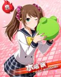 blush brown_hair character_name green_eyes idolmaster idolmaster_side-m long_hair mizushima_saki seifuku wink