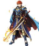 1boy arm_guards armor armored_boots bangs belt black_gloves blue_eyes boots cape eliwood_(fire_emblem) fire fire_emblem fire_emblem:_the_blazing_blade fire_emblem_heroes full_body gloves highres holding holding_cape holding_sword holding_weapon jewelry long_sleeves looking_at_viewer male_focus official_art pants redhead shiny shiny_hair short_hair shoulder_armor smile solo standing sword tiara transparent_background wada_sachiko weapon