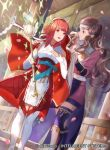 2girls arm_guards armor blue_legwear breastplate brown_eyes brown_hair cape commentary_request company_connection copyright_name elbow_gloves fire_emblem fire_emblem_cipher fire_emblem_fates gloves hairband hana_(fire_emblem) headband holding japanese_clothes long_hair long_sleeves mayo_(becky2006) multiple_girls official_art open_mouth petals red_eyes redhead sakura_(fire_emblem) shiny shiny_hair short_hair skirt sleeveless smile sparkle staff thigh-highs zettai_ryouiki