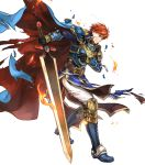 1boy arm_guards armor armored_boots belt black_gloves blue_eyes boots broken_armor cape closed_mouth eliwood_(fire_emblem) fire fire_emblem fire_emblem:_the_blazing_blade fire_emblem_heroes full_body gloves highres holding holding_sword holding_weapon jewelry long_sleeves male_focus official_art pants redhead scar shiny shiny_hair short_hair shoulder_armor solo sword tiara torn_cape torn_clothes transparent_background wada_sachiko weapon white_pants