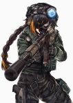 1girl artist_request assault_rifle braided_ponytail cosplay eyebrows_visible_through_hair eyepatch girls_frontline gloves gun handgun headphones holstered_weapon m16a1_(girls_frontline) pouch rainbow_six_siege rifle scope solo suppressor tactical_clothes weapon