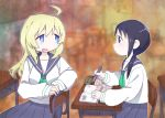 2girls ahoge black_hair blonde_hair blue_eyes book chito_(shoujo_shuumatsu_ryokou) contemporary desk long_hair looking_back multiple_girls nanaheibei_3 notebook school_desk school_uniform serafuku shoujo_shuumatsu_ryokou sitting twintails writing yuuri_(shoujo_shuumatsu_ryokou)
