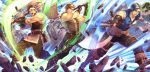 3boys axe bag barst belt blue_hair boots brown_hair faceless faceless_male fingerless_gloves fire_emblem fire_emblem:_monshou_no_nazo fire_emblem_cipher gloves headband highres maji_(fire_emblem) male_focus multiple_boys official_art open_mouth rock saji_(fire_emblem) teeth yoneko_okome99