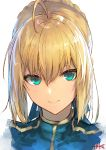 1girl ahoge artoria_pendragon_(all) bangs blonde_hair blue_dress blue_ribbon braid braided_bun closed_mouth commentary_request dress eyebrows_behind_hair eyelashes face fate/stay_night fate_(series) green_eyes hair_between_eyes hair_bun hair_ribbon highres jazztaki looking_at_viewer portrait ribbon saber shiny shiny_hair short_hair sidelocks signature simple_background smile solo white_background