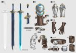 belt character_sheet ex_albio gloves grey_background kei-suwabe nijisanji no_humans pouch shoulder_armor simple_background sword vambraces weapon