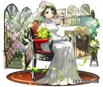 1girl bouquet bride chair dress flower full_body gloves green_eyes hair_flower hair_ornament indoors leaf light_smile long_hair looking_at_viewer official_art painting_(object) shoumetsu_toshi_2 sitting solo stained_glass stairs sunlight tenryou_sena veil very_long_hair white_dress white_gloves