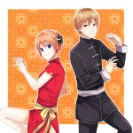 adapted_costume black_jacket black_pants blonde_hair blue_eyes brown_hair china_dress chinese_clothes closed_mouth dress gintama highres jacket kagura_(gintama) long_sleeves looking_at_viewer okita_sougo pants red_dress red_eyes ribbon shiny shiny_hair short_dress short_hair short_sleeves side_slit smile stance yayoi_(chepiiii23) yellow_ribbon