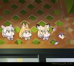 4girls animal_ear_fluff animal_ears blonde_hair bow bowtie cat_(kemono_friends) cat_ears closed_mouth commentary_request dated green_eyes kemono_friends light_brown_hair multicolored_hair multiple_girls photo-referenced roonhee sand_cat_(kemono_friends) serval_(kemono_friends) serval_ears short_hair tongue tongue_out two-tone_hair white_hair yellow_eyes