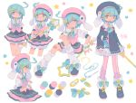 1girl :o ahoge animal_ears arm_at_side arms_behind_back bandaid bandaid_on_leg bangs beret black_footwear blue_bow blue_eyes blue_hair blue_neckwear blue_ribbon blush bow bunny_tail buttons carrot color_guide cropped_legs cross-laced_footwear d: daizu_(melon-lemon) embarrassed expressionless fang fingerless_gloves from_side furrowed_eyebrows gloves gradient_eyes hair_between_eyes hair_ornament hairclip half-closed_eyes hand_up hat highres holding long_sleeves looking_at_viewer magical_girl multicolored multicolored_eyes multiple_views needle no_nose open_mouth original pink_headwear pink_legwear profile puffy_short_sleeves puffy_sleeves rabbit_ears ribbon sewing_needle short_hair short_sleeves sidelocks simple_background standing star striped striped_legwear sweat tail tareme thigh_gap thread v-shaped_eyebrows vertical-striped_legwear vertical_stripes vest white_background white_gloves white_legwear