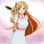 1girl 1other a-1_pictures arms_behind_back ascii_media_works asuna_(sao) blush brown_eyes brown_hair closed_eyes creatures_(company) cute deviantart dress eevee evolution_(specie) game_freak happy hazel_eyes long_hair nintendo olm_digital open_mouth piggyback pink_dress pokemon pokemon_(anime) sincity2100 sword_art_online tokyo_mx tv_tokyo white_dress yuuki_asuna