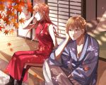 1boy 1girl autumn autumn_leaves black_footwear blue_eyes boots brown_hair china_dress chinese_clothes collarbone crossed_legs day dress eyebrows_visible_through_hair floating_hair gintama grey_hakama grey_kimono hair_between_eyes hakama head_rest highres japanese_clothes kagura_(gintama) kimono leaf long_dress long_hair maple_leaf okita_sougo open_mouth outdoors red_dress red_eyes shiny shiny_hair side_slit sitting sleeveless sleeveless_dress yayoi_(chepiiii23)