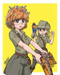 2girls bag blonde_hair blue_eyes boots collarbone dual_wielding girls_und_panzer green_eyes hand_up hat holding ichinana_(dametetujin17) long_hair messy_hair multiple_girls nerf_gun orange_hair ponytail safety_glasses short_hair short_sleeves shorts smile socks standing thigh-highs toy white_background yellow_background