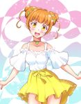1girl :d blush brown_hair choker clover_hair_ornament collarbone cowboy_shot dokidoki!_precure double_bun hair_ornament head_tilt highres kaatsukun looking_at_viewer miniskirt off-shoulder_shirt off_shoulder open_mouth pleated_skirt precure ribbon shirt short_hair short_sleeves skirt smile solo standing white_shirt yellow_eyes yellow_ribbon yellow_skirt yotsuba_alice