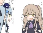 2girls bangs black_dress blush brown_hair bruise_on_face commander_(girls_frontline) crossed_bangs crying crying_with_eyes_open dress girls_frontline green_eyes hair_ornament hat hk416_(girls_frontline) multiple_girls necktie open_mouth purple_neckwear ro_(aahnn) scar scar_across_eye side_ponytail simple_background tears ump45_(girls_frontline) wavy_mouth younger