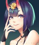 1girl bare_shoulders bob_cut eyeliner fate/grand_order fate_(series) horns long_hair looking_at_viewer makeup oni portrait purple_hair shuten_douji_(fate/grand_order) smile solo tsuki_no_same violet_eyes