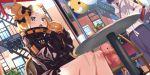 2girls abigail_williams_(fate/grand_order) backpack bag balloon black_bow black_hair blonde_hair blue_eyes bow building chair crossed_bandaids eating fate/grand_order fate_(series) food food_on_face glass_bottle heroic_spirit_traveling_outfit highres holding holding_food jacket katsushika_hokusai_(fate/grand_order) multiple_girls open_mouth orange_bow polka_dot polka_dot_bow stuffed_animal stuffed_toy table teddy_bear tied_hair tokitarou_(fate/grand_order) tsuuhan