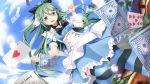 1girl alice_in_wonderland aqua_eyes bangs blue_dress breasts card clenched_hand clouds cloudy_sky commentary_request dress dutch_angle eyebrows_visible_through_hair frilled_dress frills green_hair hair_ornament hair_ribbon hairclip kantai_collection leg_up long_hair medium_breasts mushroom open_mouth outdoors parted_bangs playing_card ribbon short_sleeves sky solo striped striped_legwear swept_bangs thigh-highs yamakaze_(kantai_collection) yasume_yukito