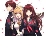 1boy 2girls :d ahoge arm_grab blonde_hair brown_eyes brown_hair chain closed_mouth fate/extra fate/extra_ccc fate_(series) flower gloves green_eyes hair_flower hair_intakes hair_ornament kishinami_hakuno_(female) kishinami_hakuno_(male) lock long_hair looking_at_viewer multiple_girls neckerchief nero_claudius_(bride)_(fate) nero_claudius_(fate)_(all) ofstan open_mouth padlock petals red_neckwear short_hair simple_background smile tsukumihara_academy_uniform_(fate/extra_ccc) upper_body veil white_background white_gloves