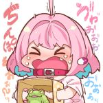 1girl box check_translation chibi collar fang frog idolmaster idolmaster_cinderella_girls pink_hair screaming surprised sweat takatoo_kurosuke touching translation_request yumemi_riamu