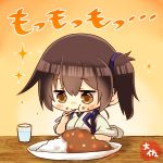1girl artist_name bangs blush brown_eyes brown_hair chibi closed_mouth cup curry curry_rice drinking_glass eating eyebrows_visible_through_hair food food_on_face hair_between_eyes highres holding holding_spoon japanese_clothes kaga_(kantai_collection) kantai_collection plate rice short_hair side_ponytail solo sparkle spoon spoon_in_mouth table taisa_(kari) tasuki water