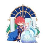 1girl 2boys armor artist_request baby blue_hair bride cape chibi closed_eyes eliwood_(fire_emblem) father_and_son fire_emblem fire_emblem:_the_binding_blade fire_emblem:_the_blazing_blade fire_emblem_heroes gloves hair_ornament mamkute mother_and_son multiple_boys ninian redhead roy_(fire_emblem) short_hair simple_background smile sword tiara veil weapon younger