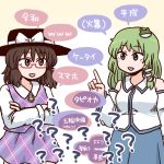 2girls ? bangs bare_shoulders black_headwear blush_stickers bow brown_eyes brown_hair collared_shirt crossed_arms detached_sleeves fedora frog_hair_ornament glasses green_eyes green_hair hair_ornament hair_tubes hat hat_bow hat_ribbon jiru_(jirufun) kochiya_sanae long_hair looking_at_another low_twintails medium_hair multiple_girls no_nose open_mouth plaid plaid_skirt plaid_vest purple_skirt red-framed_eyewear ribbon semi-rimless_eyewear shirt skirt skirt_set snake_hair_ornament speech_bubble touhou translated twintails under-rim_eyewear usami_sumireko vest white_bow white_ribbon