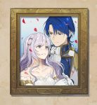 1boy 1girl blue_eyes blue_hair closed_mouth deirdre_(fire_emblem) fire_emblem fire_emblem:_genealogy_of_the_holy_war gloves hair_ornament highres husband_and_wife kyufe long_hair parted_lips petals photo_(object) picture_frame purple_hair short_hair sigurd_(fire_emblem) smile upper_body violet_eyes white_gloves