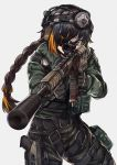 1girl ar-15 assault_rifle braided_ponytail cosplay eyebrows_visible_through_hair eyepatch girls_frontline gloves gun handgun headphones holstered_weapon jackal_(rainbow_six_siege) m16a1_(girls_frontline) persocon93 pistol pouch rainbow_six_siege rifle scope solo suppressor tactical_clothes weapon