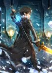 1boy black_eyes black_gloves black_hair black_jacket commentary_request dual_wielding fingerless_gloves fire from_behind gabiran gloves glowing holding holding_sword holding_weapon jacket kirito kirito_(sao-alo) long_hair long_jacket male_focus pointy_ears short_hair solo spiky_hair sword sword_art_online weapon