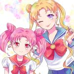 2girls :p bangs bishoujo_senshi_sailor_moon blonde_hair blue_eyes blue_sailor_collar blue_skirt brooch bubble_background chibi_usa double_bun earrings eyebrows_visible_through_hair holding holding_hair jewelry juuban_middle_school_uniform light_blush long_hair long_sleeves looking_at_viewer multicolored multicolored_background multiple_girls one_eye_closed parted_bangs pink_hair red_eyes red_ribbon red_sailor_collar ribbon sailor_collar school_uniform serafuku shiny shiny_hair short_sleeves skirt sleeve_cuffs smile sparkle stud_earrings suriringo24 tongue tongue_out tsukino_usagi twintails upper_body white_background