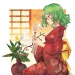 1girl eyebrows_visible_through_hair flower green_hair holding holding_flower japanese_clothes kazami_yuuka kimono long_sleeves profile red_eyes red_kimono short_hair sitting solo terrajin touhou wide_sleeves