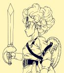 1girl belt circlet curly_hair dragon_quest dragon_quest_iv from_side gloves heroine_(dq4) highres lee_(dragon_garou) monochrome official_style serious sheath shield single_glove solo sword toriyama_akira_(style) weapon