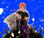 1boy black_footwear black_jacket blood blood_on_face blood_on_fingers bloody_clothes blue_eyes blue_sky boots braided_ponytail cape closed_mouth closed_umbrella floating_hair gintama grey_cape grey_pants hand_on_hilt highres jacket kamui_(gintama) knee_boots long_hair looking_at_viewer male_focus orange_hair oriental_umbrella outdoors pants petals ponytail purple_umbrella shiny shiny_hair sky sleeves_rolled_up smile solo umbrella yayoi_(chepiiii23)