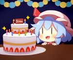 1girl 60mai :d blue_background blue_hair blush cake candle chibi commentary_request dress fang food hat hat_ribbon mob_cap open_mouth pink_dress pink_headwear portrait red_ribbon remilia_scarlet ribbon short_hair simple_background smile solo sparkle touhou |_|