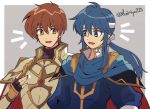 2boys armor blue_eyes blue_hair blush brown_eyes brown_hair cape cousins fire_emblem fire_emblem:_genealogy_of_the_holy_war fire_emblem:_seisen_no_keifu fire_emblem:_thracia_776 fire_emblem_4 fire_emblem_5 fire_emblem_heroes gloves headband highres intelligent_systems kiriya_(552260) leif_(fire_emblem) long_hair male_focus multiple_boys nintendo open_mouth ponytail seliph_(fire_emblem) short_hair simple_background smile super_smash_bros. super_smash_bros_brawl