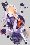 1girl abigail_williams_(fate/grand_order) alternate_costume alternate_hairstyle apron bangs blonde_hair blue_eyes blush butterfly_hair_ornament cis05 fate/grand_order fate_(series) hair_ornament holding key long_hair looking_at_viewer maid_apron maid_dress maid_headdress parted_bangs skirt sleeves_past_wrists stuffed_animal stuffed_toy teddy_bear tentacles tied_hair very_long_hair white_background