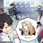 1girl 2boys ? afterimage alucard_(castlevania) black_hair blood blue_eyes blush candlelight carmilla_(fate/grand_order) castlevania castlevania:_symphony_of_the_night chaldea_uniform commentary cup dust_cloud fate/grand_order fate_(series) fujimaru_ritsuka_(male) gameplay_mechanics games_done_quick highres holding holding_cup mask multiple_boys nosebleed okiayu_ryoutarou platinum_blonde_hair richard_suwono seiyuu_connection signature smirk spoken_character translated twitter_username vlad_iii_(fate/apocrypha) white_hair