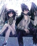 2boys angel_and_devil beard black_hair black_wings checkered checkered_scarf commentary_request danganronpa facial_hair goatee hair_between_eyes jacket jacket_on_shoulders long_hair long_sleeves looking_at_another male_focus momota_kaito multiple_boys new_danganronpa_v3 open_mouth ouma_kokichi pants purple_hair scarf school_uniform shirt short_hair single_wing smile spiky_hair straitjacket violet_eyes white_wings wings z-epto_(chat-noir86)