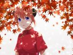 1girl autumn_leaves blue_eyes brown_hair china_dress chinese_clothes double_bun dress gintama hair_between_eyes highres kagura_(gintama) leaf looking_at_viewer maple_leaf open_mouth red_dress short_hair short_sleeves solo upper_body white_background yayoi_(chepiiii23)